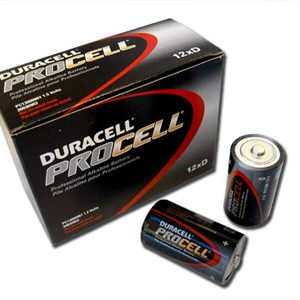 1 Box: 12pcs Duracell ProCell D Size (PC1300) Alkaline Batteries
