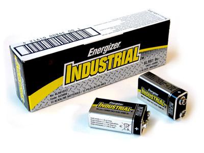 1 Box: 12pcs Energizer Industrial 9V Size (EN22) Alkaline Batteries