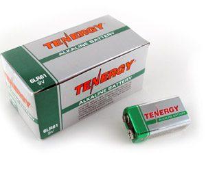 1 Box: 12pcs Tenergy 9V Size (6LR61) Alkaline Batteries