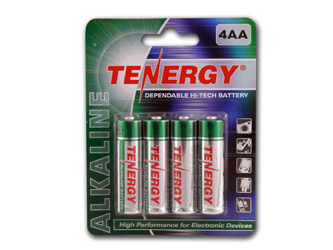 1 Card: 4 pcs Tenergy AA Size Alkaline Batteries