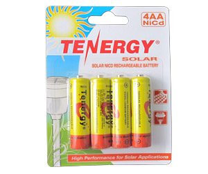1 Card: Tenergy AA 1000mAh NiCd Rechargeable Batteries for Solar Lights (Retail Pack)