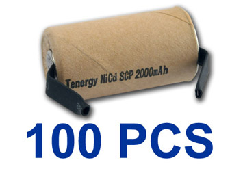 100pcs Tenergy SubC 2000mAh NiCd Paper Wrapped Rechargeable Battery w/ Tabs