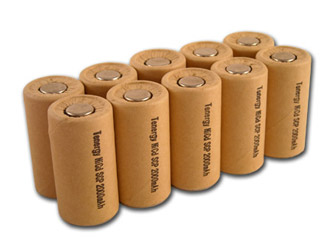 10pcs Tenergy SubC 2000mAh NiCd Paper Wrapped Flat Top Rechargeable Batteries