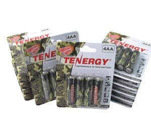12 Cards: 4pcs Tenergy AA Size Camouflage Version Alkaline Batteries
