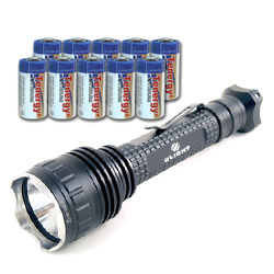 2010 Olight M30 Triton LED Flashlight with Cree MC-E R2 with 10 Tenergy Propel CR123A Lithium Battery (PTC Protected)