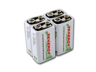 4pcs Tenergy Centura NiMH 9V 200mAh Low Self Discharge Rechargeable Battery