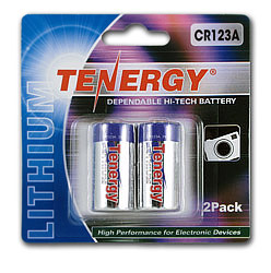 Tenergy Propel CR123A Lithium Battery with PTC Protected (2 pcs) - Retail Card