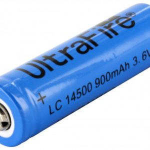 -14500-900-BLUE, 900mAh 3.6V Unprotected Lithium Ion Button Top Battery