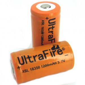 -18350-1200, 1200mAh 3.7V Unprotected Lithium Ion Button Top Battery