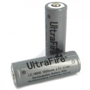-18500-1600-PTD, 1600mAh 3.7V Protected Lithium Ion Button Top Battery