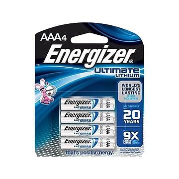 Energizer Ultimate Lithium Battery, AAA, 4 Pack (L92BP/SBP-4),Size: small