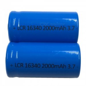 ZHAOYAO 2Pcs 16340 Blue 3.7V 2000mAh Rechargeable Lithium Batteries