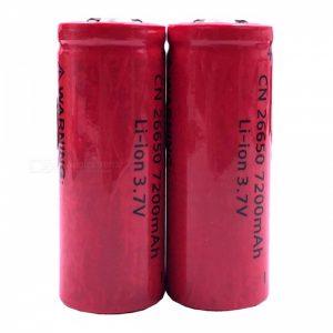 ZHAOYAO 3.7V 26650 7200mAh Rechargeable Lithium Battery (2 PCS)