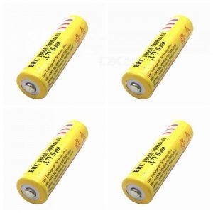 ZHAOYAO 4Pcs 3.7V 18650 5000mAh Rechargeable Lithium Battery - Yellow