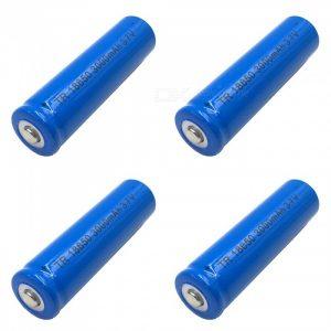 ZHAOYAO 4Pcs 3.7V 18650 Blue 3000mAh Rechargeable Lithium Battery