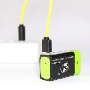 ZNTER Ultra-Efficient 9V 400mAh USB Rechargeable 9V Lithium Polymer Battery - black&green