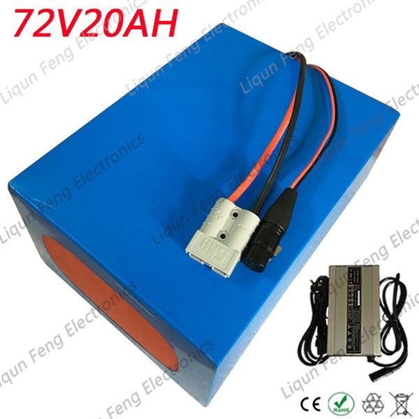 72v 20ah lithium battery pack 72v 2000w battery 72v 20ah electric bike battery with 30a bm and 84v charger taxe