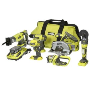 18-Volt One+ Lithium-Ion Cordless 6-Tool Combo Kit With (2) 1.5 Ah Lithium+ Batteries Dual Chemistry Charger And Bag - Ryobi