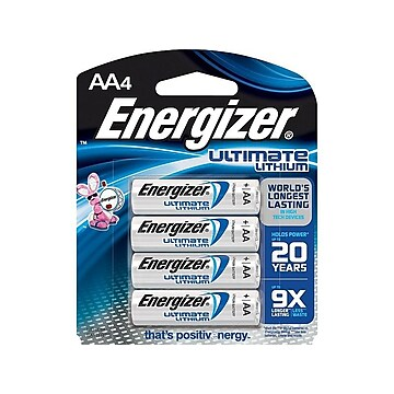 Energizer Ultimate Lithium Battery, AA, 4 Pack (L91BP/SBP-4),Size: small
