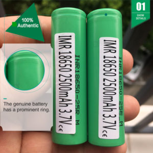 (ten compensation for one fake)authentic 25r 18650 battery 2500mah 35a lithium rechargeable batteries fedex ship