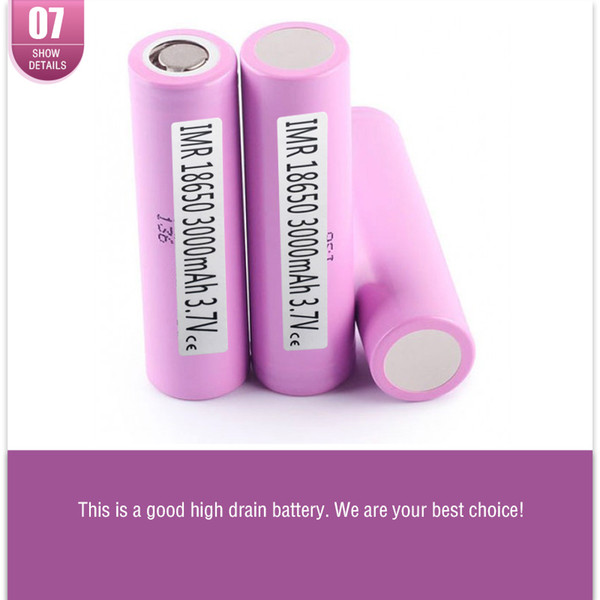 (ten compensation for one fake)authentic 30q 18650 battery 3000mah 30a lithium rechargeable batteries using samsung cell vs 25r ship