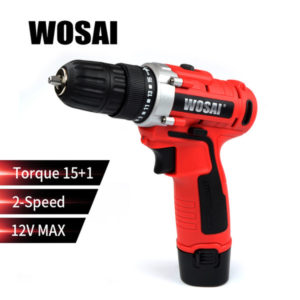 wosai 12v max electric screwdriver cordless drill mini wireless power driver dc lithium-ion battery 2-speed
